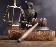 Law theme, mallet of judge, wooden gavel Stock Photos