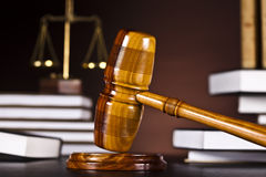 Law theme, mallet of judge, wooden gavel Royalty Free Stock Image