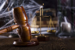 Law theme, mallet of judge, wooden gavel Stock Image