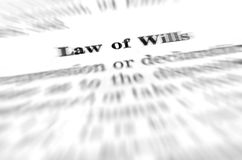 Law of Wills and Testaments. Law of wills definition dealing with estate planning Royalty Free Stock Photography