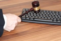 Law With Keyboard Symbol And Gavel Stock Photography