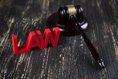 Law wooden gavel barrister, justice concept, legal system. Law and justice concept, legal code and scales stock photo