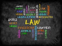 Law word cloud concept on chalkboard Stock Photos