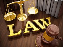 Law word, gavel and balanced scale on wooden table. 3D illustration.  Royalty Free Stock Photo
