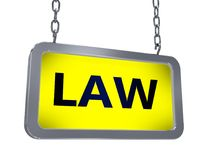 Law on billboard. Law on yellow light box billboard on white background Stock Images