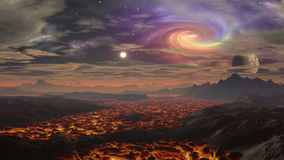 Lawa krajobraz na planeta obcych royalty ilustracja