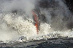 Lawa wchodzić do ocean, Duża wyspa, Hawaje Obraz Royalty Free