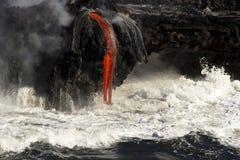 Lawa wchodzić do ocean, Duża wyspa, Hawaje Obrazy Royalty Free