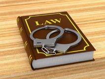 Lawbook and handcuffs. 3D illustration Royalty Free Stock Photo
