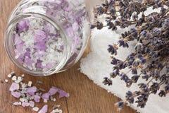 Lawendowa aromatyczna morze sól Fotografia Royalty Free