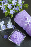 Lawendowe kąpielowe sole z kwiatami i ręcznikiem Fotografia Stock