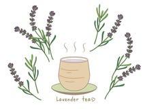 Lawendowej herbaty ustawiająca, Gorąca herbata/i azjata stylowa filiżanka ilustracji