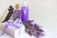 Lawendowy kosmetyka zdroju ciała opieki abstrakta skład Fotografia Stock