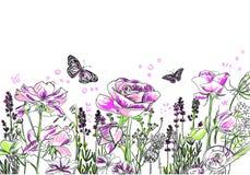 Lawendy róży kwiatu wektoru karty tła purpury royalty ilustracja