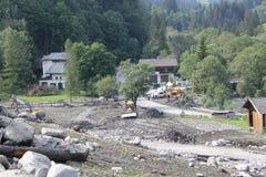 Lawiny błotne okaleczają zbocza Austria po ulewny deszcz obraz royalty free