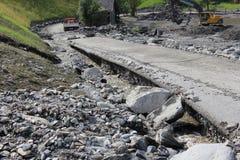 Lawiny błotne okaleczają zbocza Austria po ulewny deszcz obraz stock