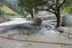 Lawiny błotne okaleczają zbocza Austria po ulewny deszcz UE obraz stock