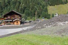 Lawiny błotne okaleczają zbocza Austria po ulewny deszcz UE fotografia royalty free