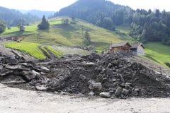 Lawiny błotne okaleczają zbocza Austria po ulewny deszcz UE Obraz Royalty Free