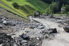 Lawiny błotne okaleczają zbocza Austria po ulewny deszcz UE obrazy royalty free