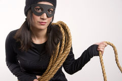 Masked Female Bandit Wears Black White Background Stock Photo