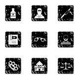 Lawlessness icons set, grunge style Stock Photography