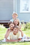 On the lawn. Families with children on the lawn Stock Images