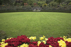 Lawn. A charming green grassy lawn and bright flower beds Royalty Free Stock Photography