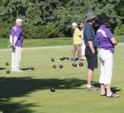 Lawn Bowlers With Balls. On sunny summer day in August 2017 Edmonton Alberta stock photos