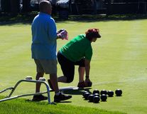 Lawn Bowlers With Balls. On sunny summer day in August 2017 Edmonton Alberta royalty free stock image