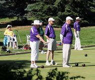 Lawn Bowlers With Balls. On sunny summer day in August 2017 Edmonton Alberta stock image