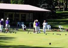 Lawn Bowlers With Balls. On sunny summer day in August 2017 Edmonton Alberta stock photo