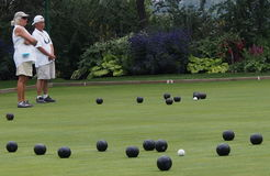 Lawn Bowlers And Bowls On Pitch Royalty Free Stock Photography