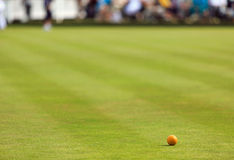 Lawn bowling green with jack Stock Images