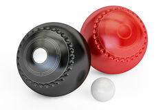 Lawn Bowls And Jack, 3D rendering. On white background Stock Photo