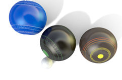 Lawn Bowls And Jack. Three different designs of lawn bowling balls surrounding a white jack on an isolated white studio background - 3D render Stock Photos