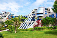 The lawn and building of luxury hotel royalty free stock photos