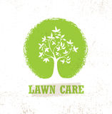 Lawn Care Creative Organic Vector Sign Concept. Eco Tree Icon On Raw Background Royalty Free Stock Photography
