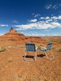 Lawn chairs in desert. Royalty Free Stock Photography