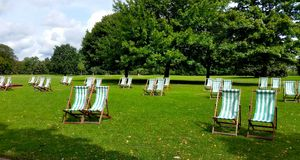 Lawn Chairs at Hyde Park Stock Photos