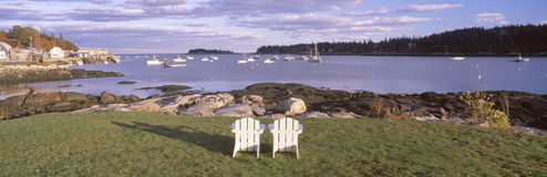 Lawn chairs at Lobster Village, Tenants Harbor, Maine Royalty Free Stock Image