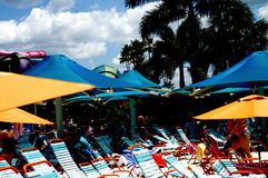 Lawn Chairs Under Umbrellas at Beach Royalty Free Stock Image