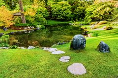 Lawn with clipped green grass near a river in a park with trees. A lawn with clipped green grass near a river in a park with trees and bushes, stones and a Stock Image