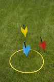 Lawn Darts, Popular Family and Party Jarts Game. Set of lawn darts, also known as Jarts. This game was made illegal because people were getting injured from the stock photos