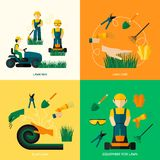 Lawn Flat Set. Lawn design concept set with worker man plant equipment and care flat icons isolated vector illustration Stock Photography