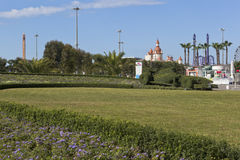 Lawn with flower bed in the form of the race track and race car Formula 1 in Sochi Olympic Park Stock Images