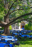 Lawn in front of White-Gravenor Hall with tables and chairs during Georgetown University reunion. Royalty Free Stock Photo