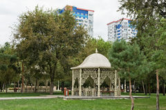 The lawn and gazebo in friendship Park Volgograd-Baku. VOLGOGRAD, RUSSIA - AUGUST 17: The lawn and gazebo in friendship Park Volgograd-Baku. August 17, 2016 in Royalty Free Stock Image