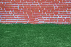 Lawn of grass and brick wall Royalty Free Stock Image