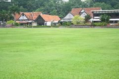 Lawn and houses Royalty Free Stock Images